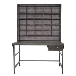 Indus home office desk and compartmental shelving, gun metal